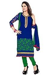 Khushali Presents Crepe Dress Material (Blue,Green)