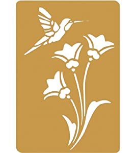 Brass 3-1/4 Inch by 2-1/4 Inch Embossing Stencil, Bird and Flower