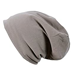 WishCart Womens and Mends Slouch Beanie Cap Slouchy Skull Hat Gray (Light Brown)