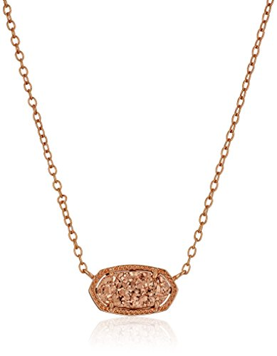 Kendra-Scott-Signature-Elisa-Rose-Gold-plated-Rose-Gold-Drusy-Pendant-Necklace