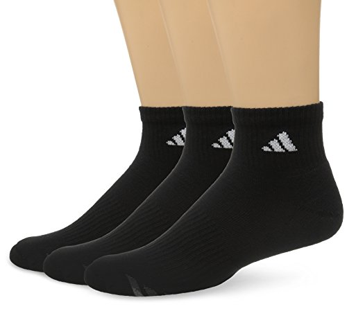 Adidas Men's Cushioned 3-Pack Quarter Socks, Black/White/Light Onix/Granite, X-Large,fits shoe size 12-15