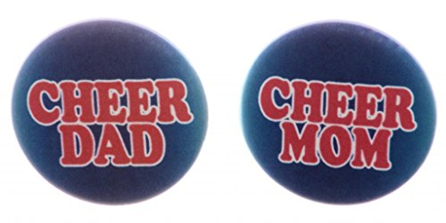 """A&T Designs Unisex - Set 2 Cheer Mom Dad 1.25"""" Pinback Buttons Pins Cheerleading"""