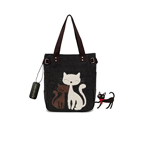 Black Friday Clearance Sale 2016 Valentoria® Cute Cat Design Multifunction Women's Canvas Zipper Closure Handbag Shoulder Lunch Tote Bag with Large Capacity Best Gifts for Teen Girls (Black)
