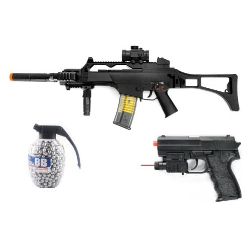 full scale tactical m85p g36c aeg rifle 260 fps, scope, flashlight, airsoft gun, airsoft gun + flashlight, spring pistol 180 fps + 800 count high quality grenade bbs(Airsoft Gun)