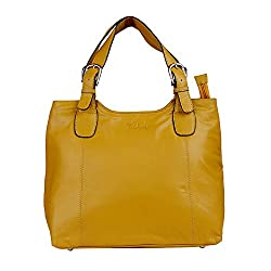 Hidekraft 100% Genuine Leather Womens Handbag, Mustard Yellow, Bucket bag
