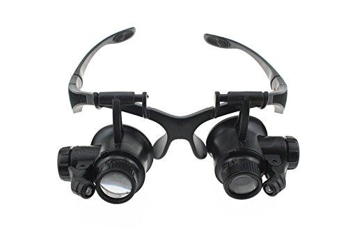 Juyo Vonsan® Eyewear Style 10X 15X 20X 25X Jeweler Watch Repair Magnifier Magnifying Jewelry Loupe Lens With Led Light (10X 15X 20X 25X)