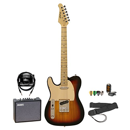 Sawtooth Et Series Left Handed Electric Guitar Sunburst W/Aged White Pickguard, Guitar Instructional, Picks, Tuner, Strap, Cable And Amp