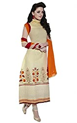 Nirali Women's Cotton Salwar Kameez Unstitched Dress Material - Free Size(Beige)