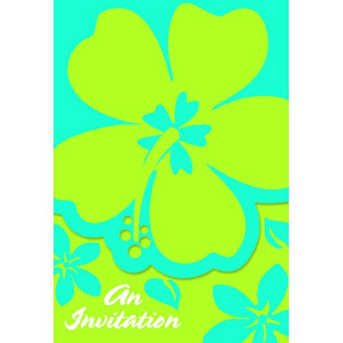 Hibiscus Blue Invitations 8ct - 1