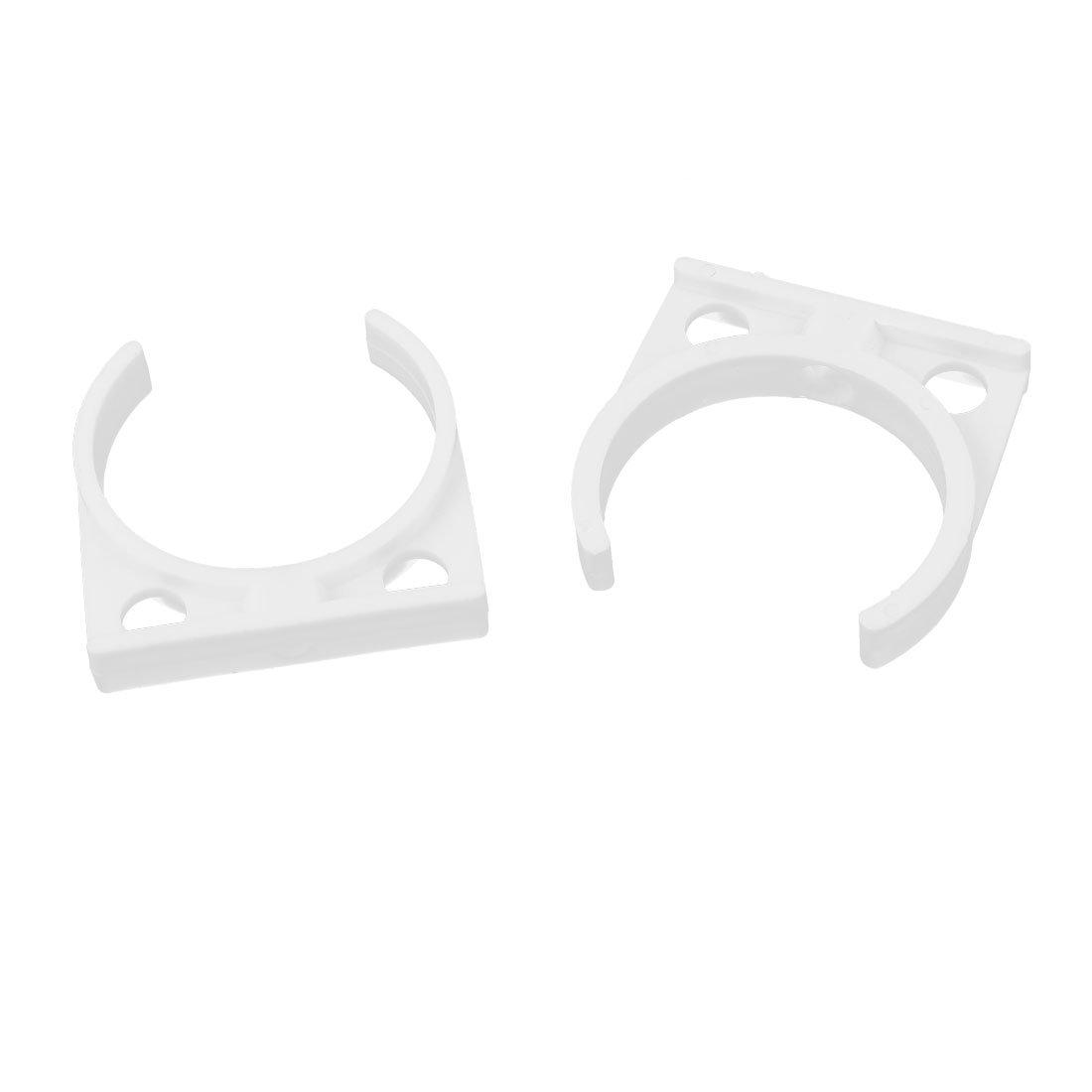 Plastic Filter Housing Clamp Clip 2.2 Inch Diameter 2 Pcs White