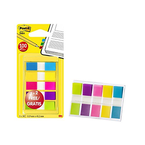post-it-683-5cbp-index-mini-promotion-5-x-20-haftstreifen-im-spender-119-x-432-mm-turkis-gelb-pink-l