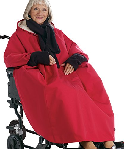 Adaptive Clothes - Womens and Mens Unisex Adaptive Wheelchair Lined Cape - Red (Wheelchair Clothing compare prices)