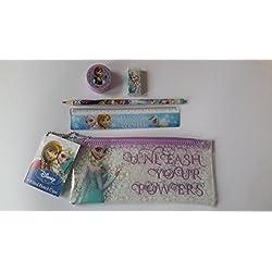 FROZEN Elsa-Astuccio in plastica DISNEY-Set di articoli di cancelleria con 5 pezzi School essentials-Set cancelleria