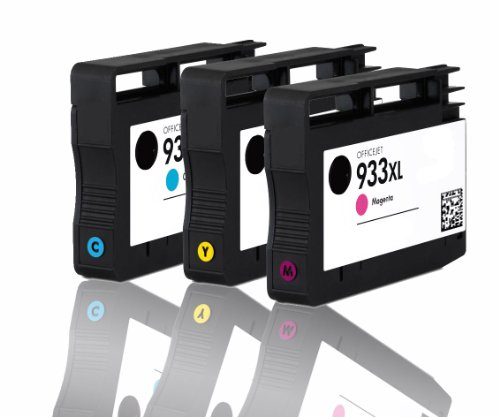 Premium 3er color Pack Tintenpatronen für HP 933XL , 933 XL , CN054AE , CN055AE , CN056AE HP Hewlett Packard Officejet 6100 6600 6700 kompatibel (C,Y,M)