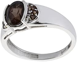 Exotic India Faceted Smoky Quartz Ring - Sterling Silver Ring Size 8