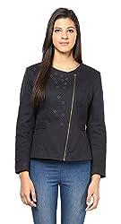 L'Elegantae Women's Jacket (LE-FW-15_546-Navy-B, Blue, Medium)