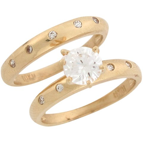14ct Yellow Gold White CZ Modern Wedding Engagement Duo Rings