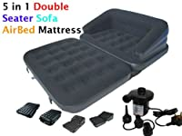 Inflatable 5 In 1 Double Seater - 2 Person Sofa Couch Flocked Air Bed Double Mattress Airbed Lounger With Electric Sidewinder 240v Pump - Pull Out Sofa Bed