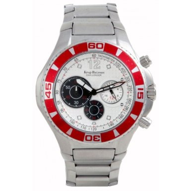 Krug-Baumen Challenger Silver Dial Red Bezel Chronograph