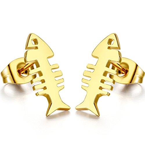 Stayoung Schmuck Golden Fisch Skelett Poliert Edelstahl Ohrringe für Unisex, Golden Farben