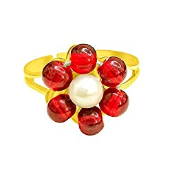 Surat Diamonds Flower Shape Red Coloured Stone & Real Freshawater Pearl ajustable Ring for Women (Ring56)