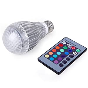 HDE Remote Control Dimming Energy Efficient Multi Color Changing 9W E27 LED Lamp Light Bulb + RC