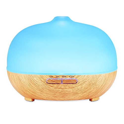 300ml Cool Mist Ultrasonic Humidifier, Amir® Frosted Glass Essential Oil Diffuser - 4 Timer Settings,10 Hours Continuous Mist,7 Color Changing LED,Waterless Auto off- for Office,Spa,Baby Room,Etc