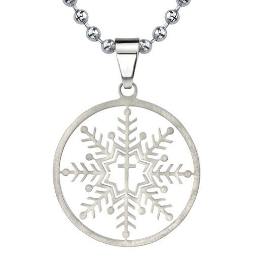 Peora The Forever Snowflake: Designer Inspired Titanium Brushed Finish Snowflake Cross Pendant on a Stainless Steel Ball Chain