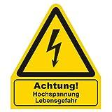 Warnzeichen - Warnschild - Achtung ! Hochspannung Lebensgefahr - Folie
