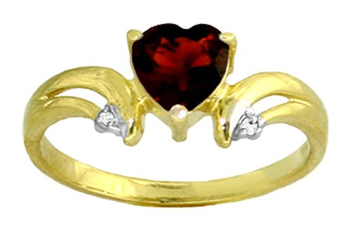 14k Solid Gold Garnet Heart Ring with Diamond Accents - Size 7