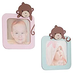 Sprinkles Jungle Monkeys Baby Girls Wall Decor Picture Frames