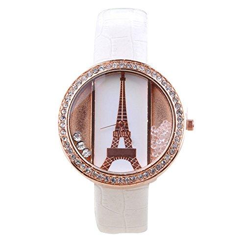 Ocaler®;Fashion Paris Eiffel Tower Rond Dial Studded Crystal Rhinestones Quartz Wrist Watch For Women (White)
