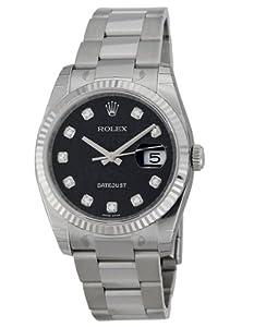 Rolex Datejust Blue Jubilee Diamond Dial Fluted 18k White Gold Bezel Mens Watch 116234BLJDO