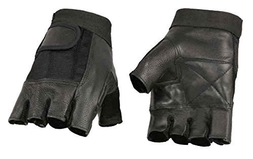 Milwaukee Leather Men's Leather Mesh Combo Fingerless Gloves, Black SH217 (XS) (Black Fingerless Gloves)