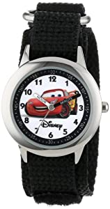 """Disney Kids' W000093 Cars """"Time Teacher"""" Stainless Steel Watch with Black Nylon Band"""