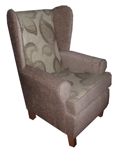 Light brown beige patterned chenille Queen anne design wing back fireside high back chair. Ideal bedroom or living room furniture with modern deep base and light brown legs