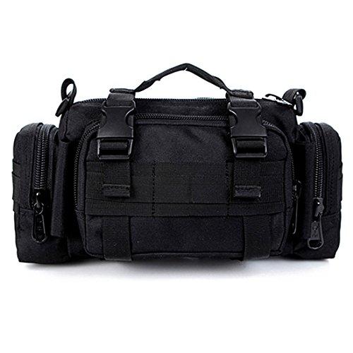 Yihya Militare multifunzionale Nylon bag Tactical Marsupio Tattico Messenger Zaino Bag Zaino di Assalto per Sport Esterni Avventura Climbing & Riding Borsa da Viaggio - Borsa a tracolla-nero