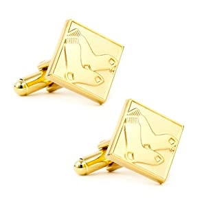 MLB Mens Gold Edition Red Sox Cufflinks with Collectible Gift Box by Cufflinks