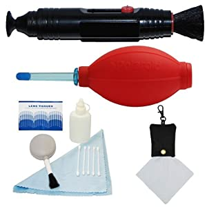 PLR Optics Professional Cleaning Kit - Includes: Lens Cleaning Pen System + Deluxe 5 Piece Cleaning Kit + Air Blower Cleaner + Premium Microfiber Cleaning Cloth For The Canon Digital EOS Rebel T4i (650D), T3 (1100D), T3i (600D), T1i (500D), T2i (550D), XSI (450D), XS (1000D), XTI (400D), XT (350D), 60D, 60Da, 1D C, 50D, 40D, 30D, 20D, 10D, 5D, 1D X, 1D, 5D Mark 2, 5D Mark 3, 7D, 6D SLR Cameras