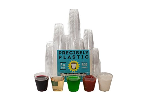 Shot Glasses Premium 2oz Clear Plastic Disposable Cups 500 ct VALUE PACK, Perfect Container for Jello Shots, Condiments, Tasting, Sauce, Dipping, Samples