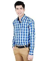 T.D.G Casual Long Sleeve Cotton Shirt (Blue)