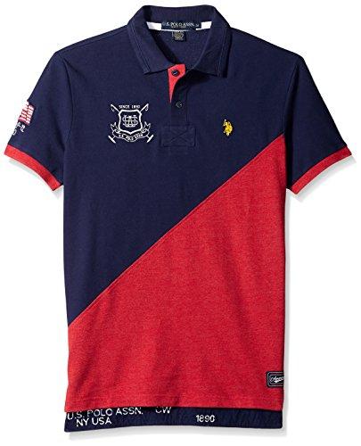 U.S. Polo Assn. Men's Slim Fit Color Block Pique Shirt, Classic Navy/Diagonal, Medium (Us Polo Assn compare prices)