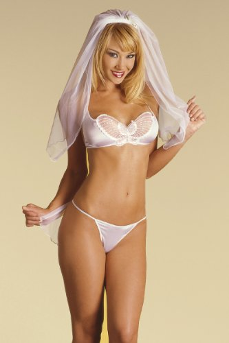 SeXy Bride White Bra Top Pantie Veil Honeymoon 3 Pc Set