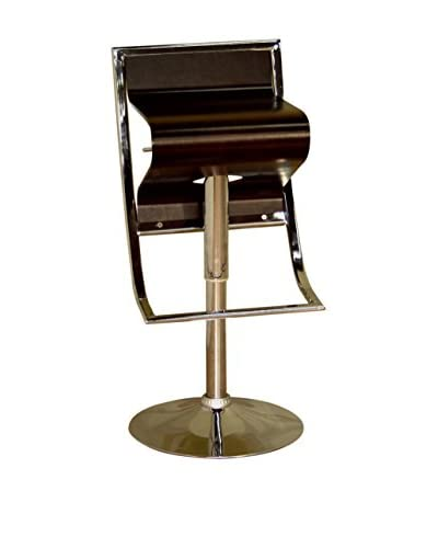Baxton Studio Tommaso Curved Adjustable Bar Stool, Brown