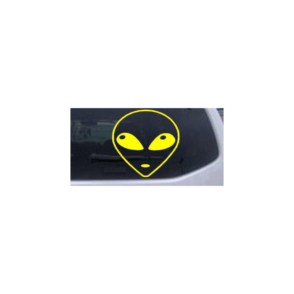Alien Head Car Window Wall Laptop Decal Sticker    Yellow 3in X 3in