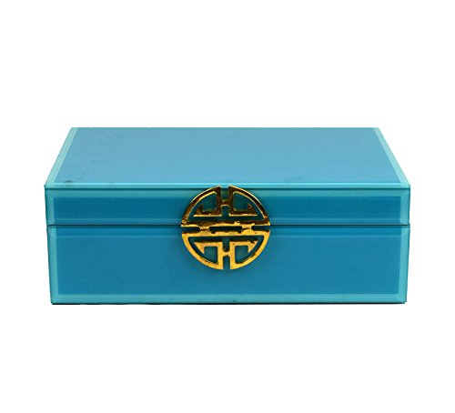 Galt International Decorative Jewelry Box with Gold Metal Decoration, Solid Turquoise