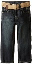 U.S. Polo Assn. Little Boys\' Belted Straight Fit Denim Jean, Berkeley Wash, 3T