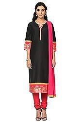 Trishaa by Pantaloons Women's Straight Churidar Kurta Dupatta ( 205000005658138, Black, Large)
