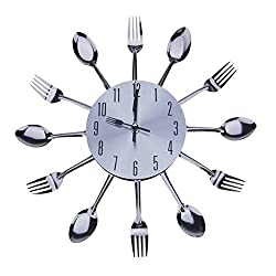 Chinatera 3D Removable Modern Creative Cutlery Kitchen Spoon Fork Wall Clock Mirror Wall Decal Wall Sticker Room Home Decoration (Type H: Silver)