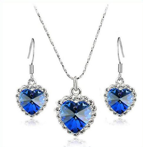 Titanic Heart of Ocean Royal Blue Crystal Jewellery Set Drop Earrings & Necklace